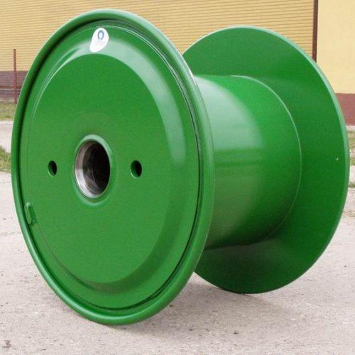 Steel reel 800 mm flange, green painted