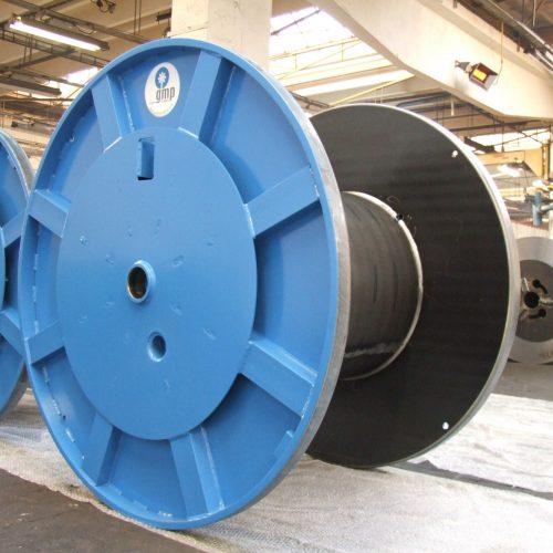 Metal cable drums, blue colors