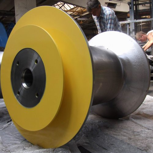 Conical steel reel standing plate yellow painted