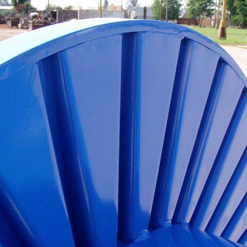Blue corrugated drum detail