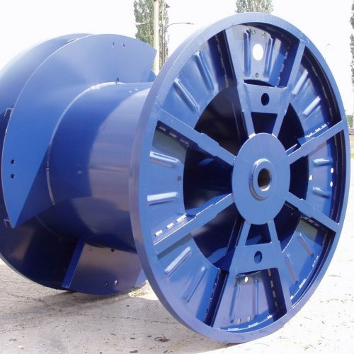 Large cable drums for sale: blue reel with double barrel
