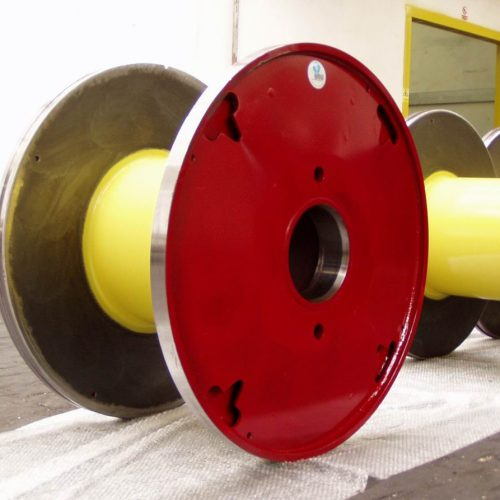 Machined steel reel, red color