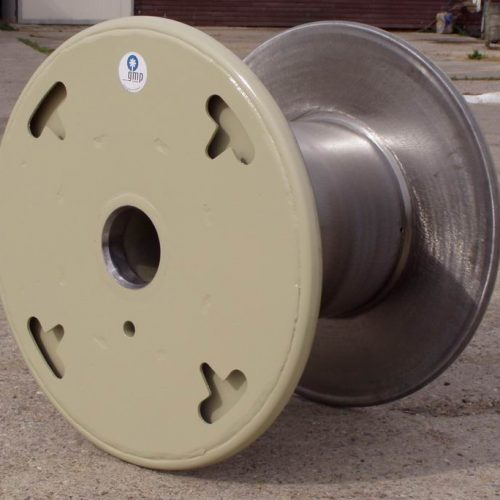 Metal cable spool with curled flange