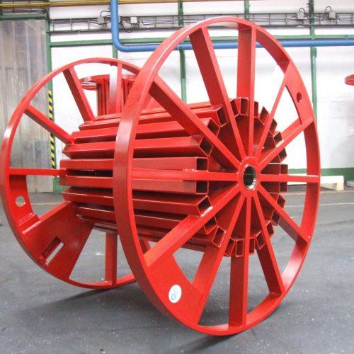 Red tubular steel reel fully painted